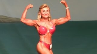63 Year Old Female Bodybuilder at The 2013 Europa Show of Champions.