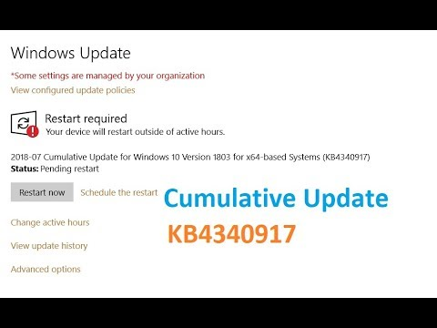 Cumulative Update for Windows 10 Version 1803 for x64 based Systems  KB4340917