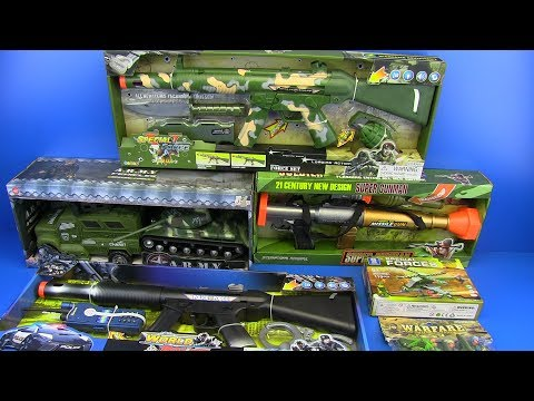 Box Of Toys ! Military&Police Equipment - Guns Toys For Kids ! Tank,Helicopter,  Truck, Bazooka