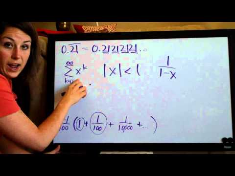 Convergence and sum of a geometric series, example 1 (KristaKingMath)