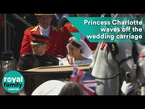So cute! Princess Charlotte waves off the wedding carriage procession