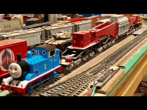 Worlds Biggest Freight Car Pulled By THOMAS TANK ENGINE!!  Huge 64 Wheels Rail Carriage!