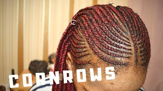 HOW TO | RED COLOURED CORNROW AND BOX BRAID STYLE STEP BY STEP | TAPCHIN