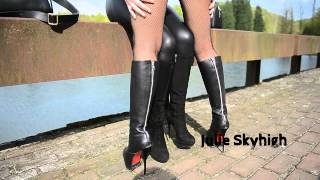 Repeat youtube video Kissing my friends boots in leather jacket with big fox fur collar: bootsfetish & furfetish