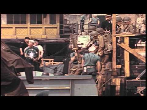 American soldiers board LCVPs at pier in  Weymouth, county of Dorset, England, pr...HD Stock Footage