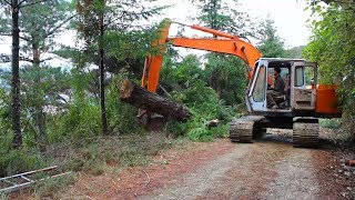 Hitachi UH043 excavator pulling logs out of the forest