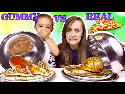 GUMMY VS REAL PIZZA CHALLENGE - SUPER GROSS REAL SNAILS AND OCTOPUS - KID VS PARENT