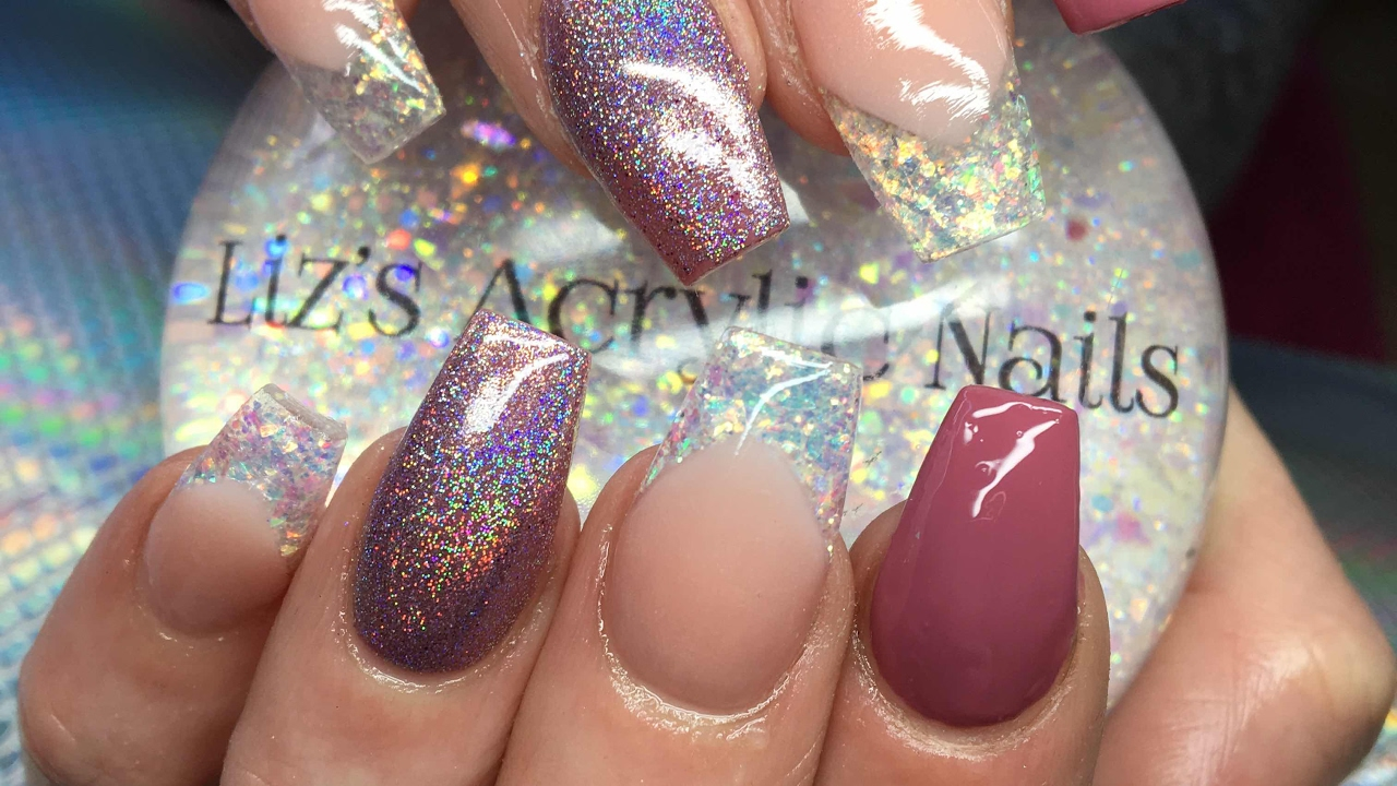 Acrylic Nails ~ Mylar dust ~ Holographic - YouTube