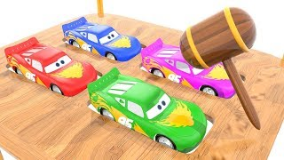 Colorful Mcqueen & Wooden Thor Hammer Colors Learn Video For Preschoolers by Bonny Kids TV