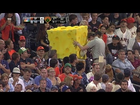 Spongebob wanders the stands at Petco Park