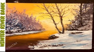 River Bank in winter Acrylic painting, clive5art