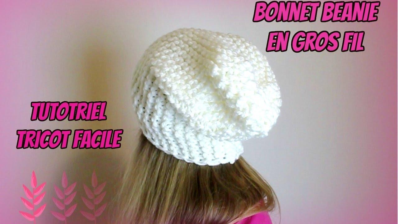 0b986227021f Bonnet beanie en gros fil, tutoriel tricot facile ! Cap beanie easy -  YouTube