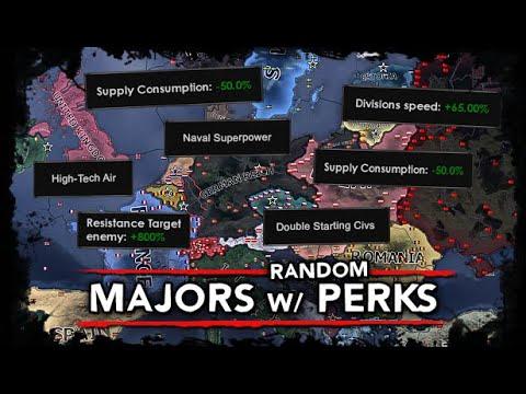 [HoI4] Majors w/ Random Perks [WW2 AI Timelapse] 1936-1981! |