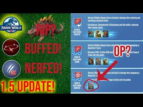 1.5 UPDATE! SUPERIORITY NERF! NEW MOVES! MOVE CHANGES -Jurassic World Alive 1.5 Analysis- p2 Moves