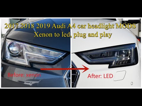 Audi A4L Car Headlight Upgrade Show From Xenon To LED For Beginners