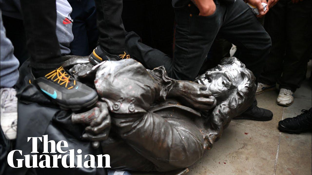 BLM protesters topple statue of Bristol slave trader Edward Colston