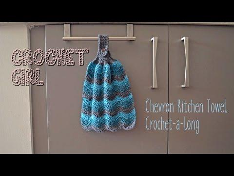 Chevron Kitchen Dish Towel CROCHET-A-LONG Part 1