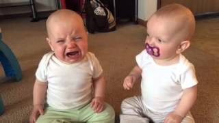 Twin baby girls fight over pacifier thumbnail