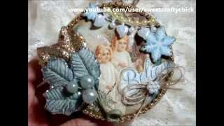 Vintage Christmas Altered Spool Ornament - Tsunami Rose Design's Christmas Gift Printable Journal