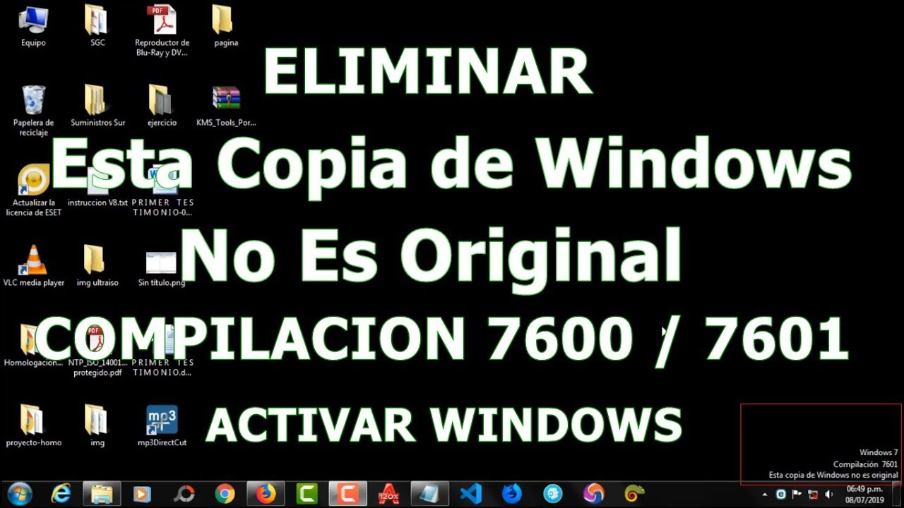 Eliminar Esta Copia De Windows No Es Original Compilacion 7600 Y 7601 Activar Windows 7 Youtube