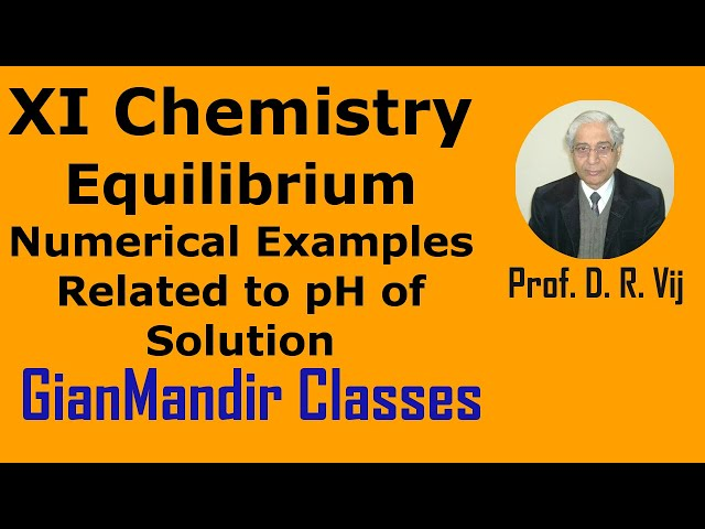 XI Chemistry | Equilibrium | Numerical Examples Related to pH of Solution by Ruchi Ma'am