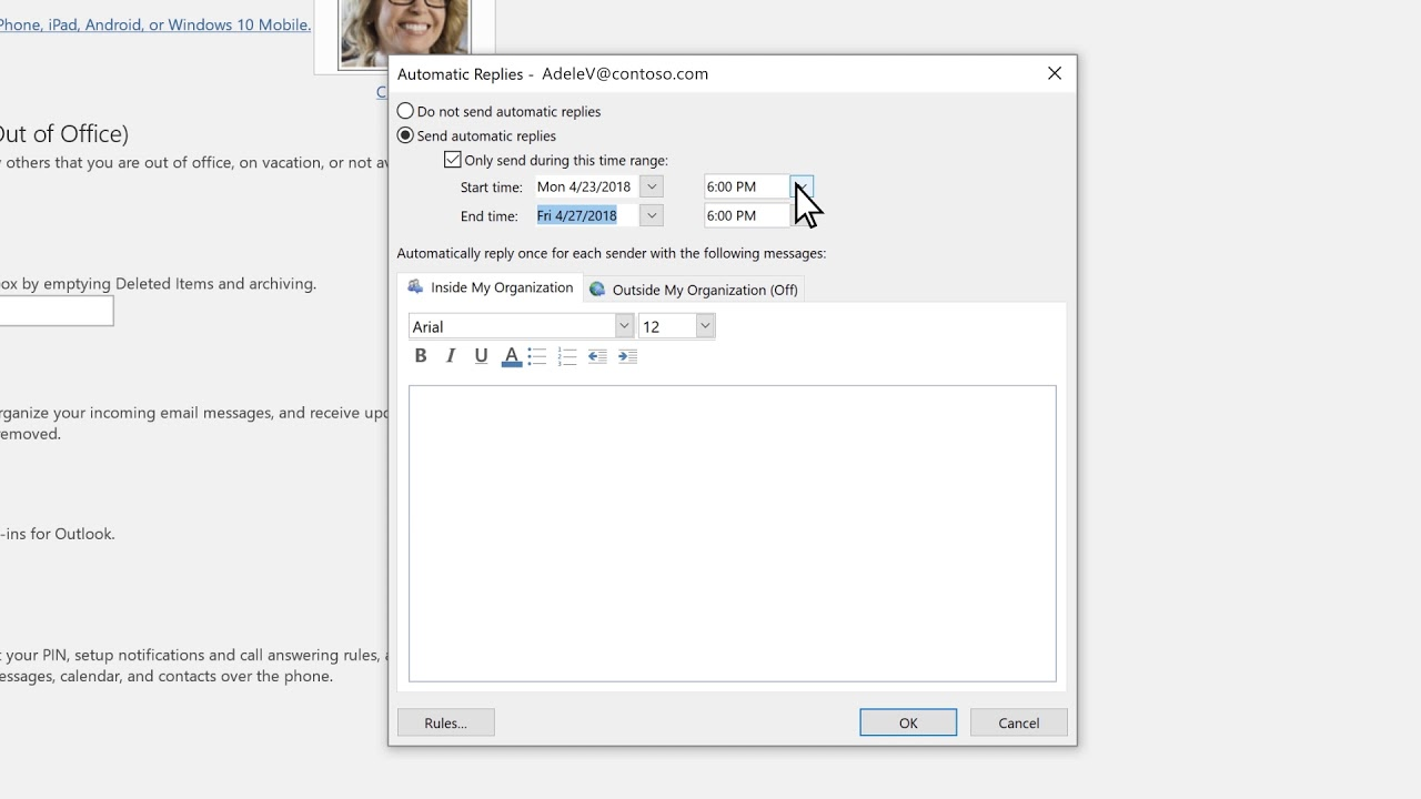 how to do auto reply in outlook
