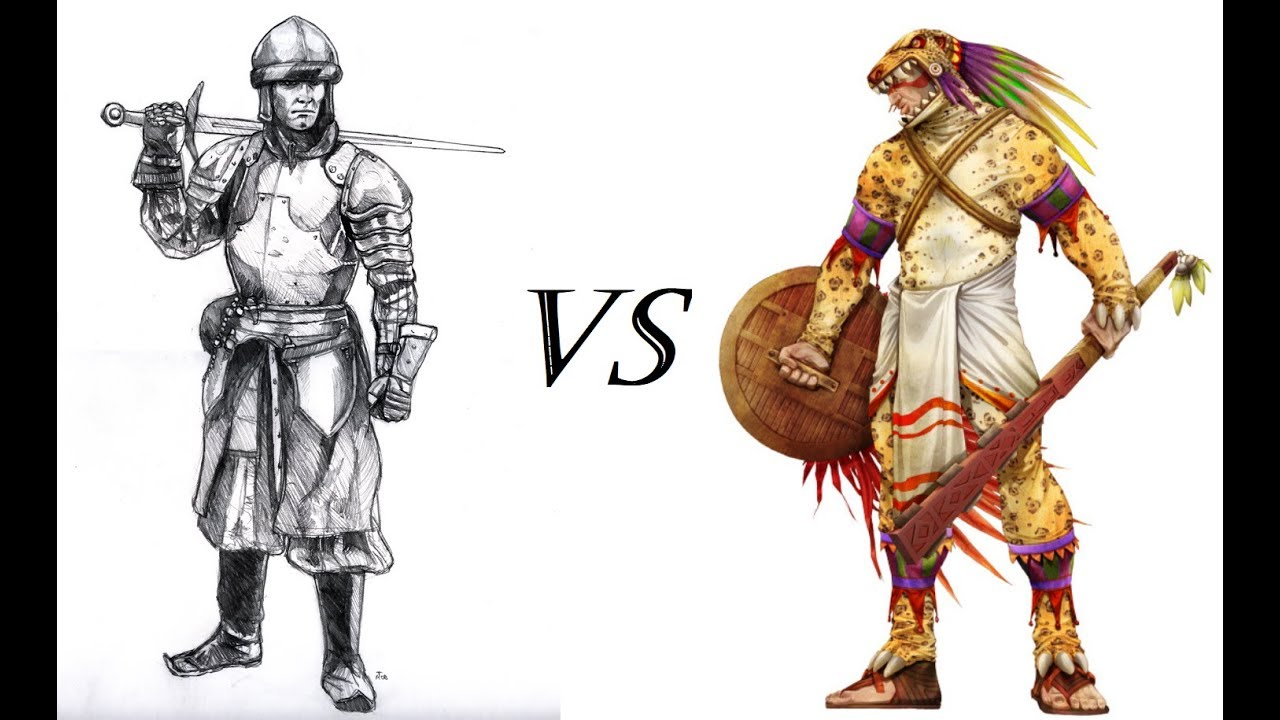 English Armoured Swordsmen Vs Aztec Jaguar Warriors Medieval 2 Total War Versus S1e1 Youtube