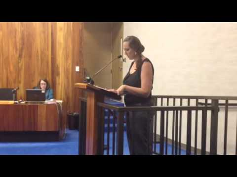 Jacqueline Stewman testifying to Maui County Council in sup