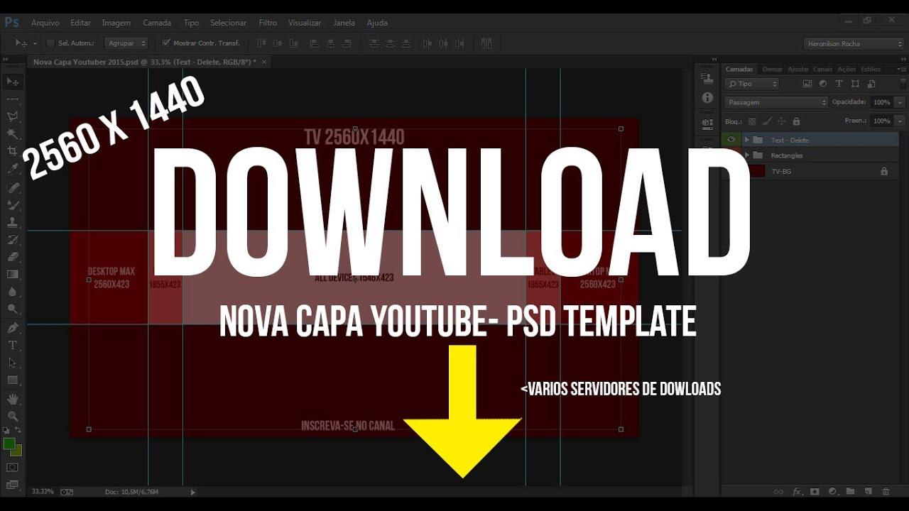 Modelo De Capa Do Youtube Com 2048 X 1152: Nova Capa Youtube 2015 Dowload Template PSD