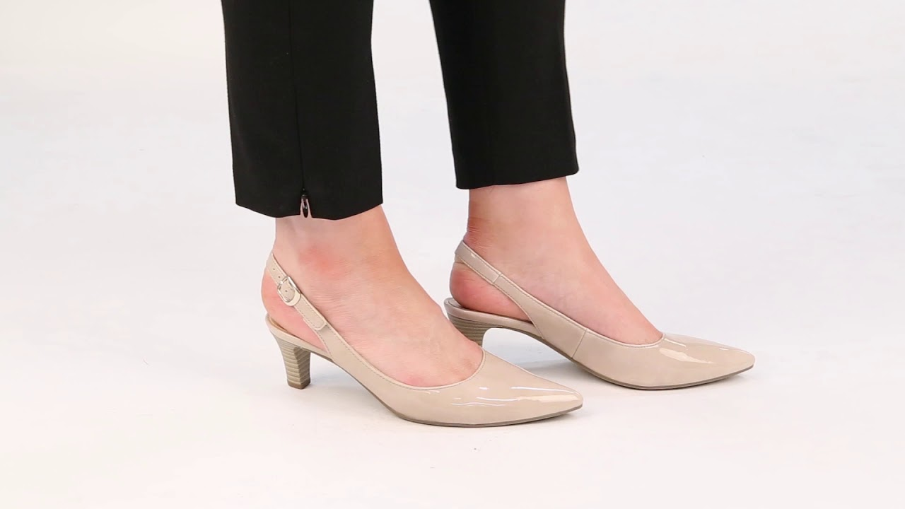 85404b9057c Gabor Hume Sand Patent Womens Slingback Shoes - YouTube
