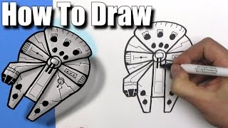 How To Draw a EASY Millennium Falcon -  Step By Step