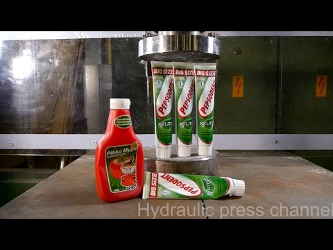 Pressing last toothpaste and ketchup out with hydraulic press