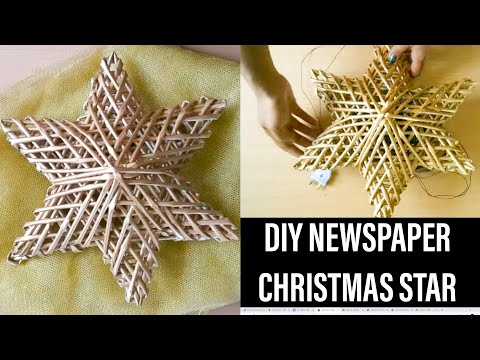 HOW TO MAKE A STAR USING NEWS PAPER /ESTRELLA GLOWING WALL HANGING -DIWALI & CHRISTMAS DECOR