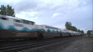 Fast Passenger Train Overtaking Intermodal Train