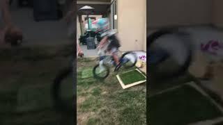 Little autistic kid jumps a ramp