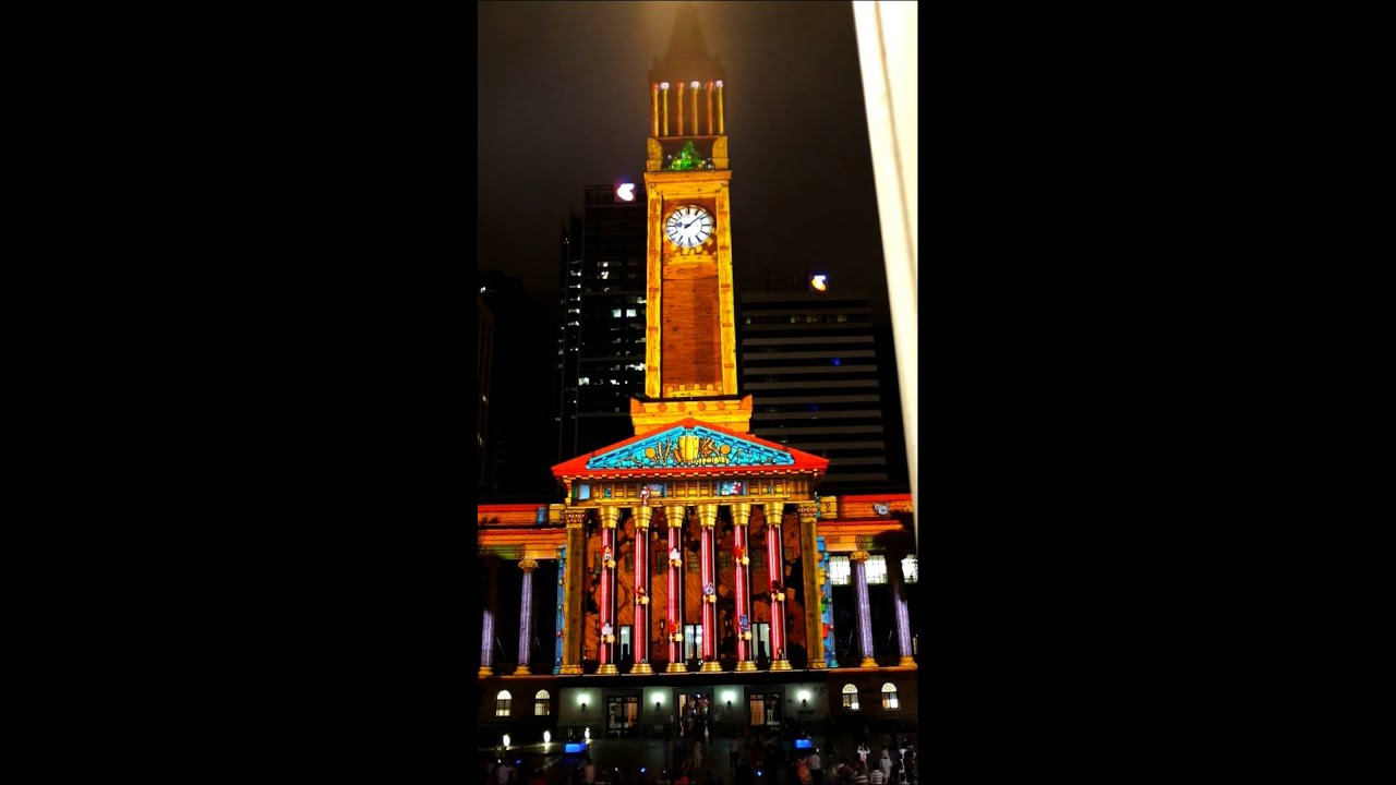 2013 brisbane city hall christmas light spectacular 3d animated clockwork toy factory projection