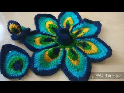 Beautiful Peacock dress size2-3-4 amazing crochet design