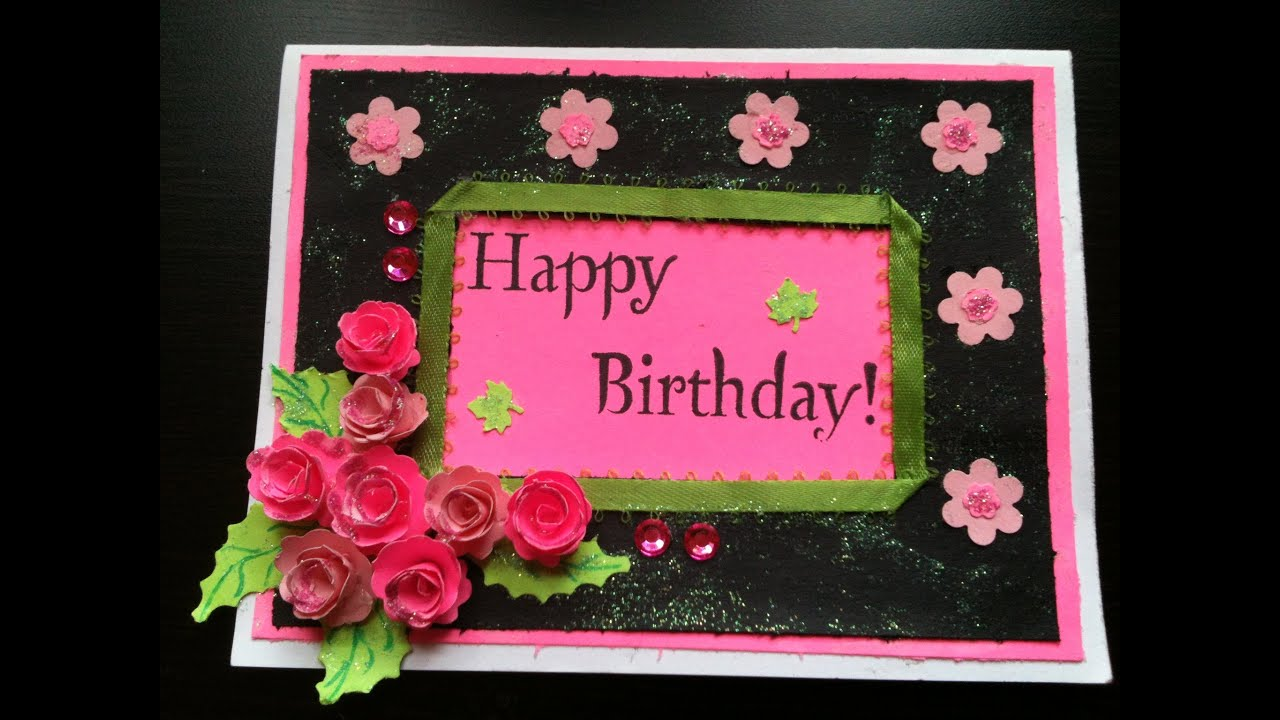 Bday card start to finish and quilled paper Rose Tutorial YouTube