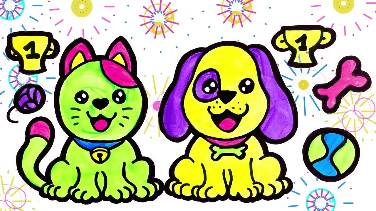 Раскраска, Забавная Кошка и Щенок для детей - YouTube