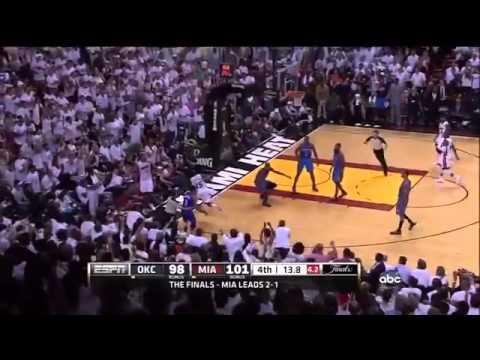 Russell Westbrook fouls  Mario Chalmers with 5 seconds left on shot clock Heat-Thunder Game 4