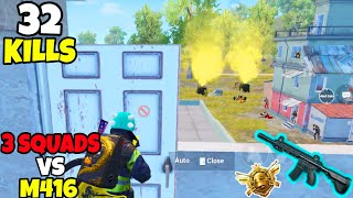 12 Enemies Rushed at ME in The Same House So i Used My M416 in PUBG Mobile • (32 KILLS)• PUBGM HINDI