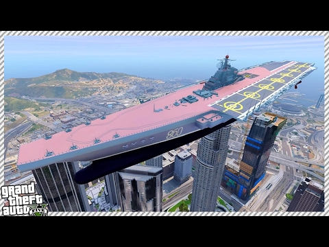 HOW TO SINK HUGE AIRCRAFT CARRIER WARSHIP (GTA 5 GAMEPLAY)