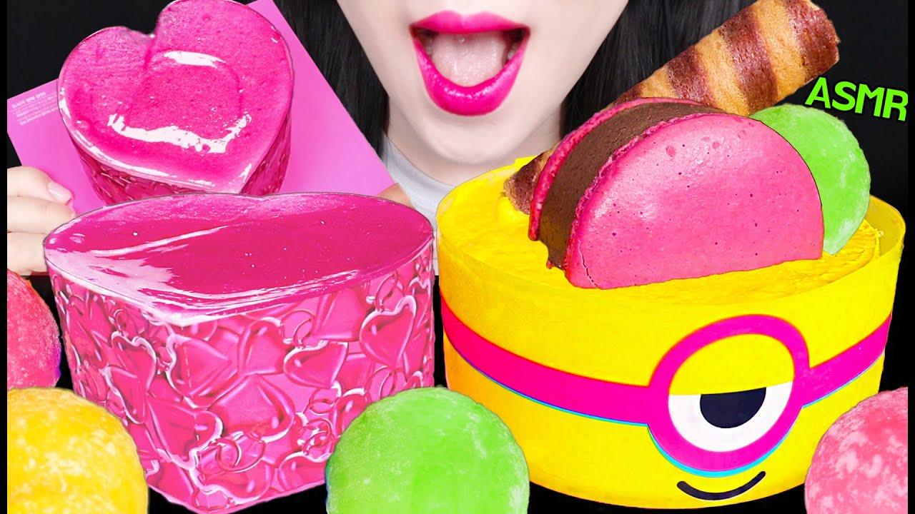ASMR ICE CREAM CAKES, ICE CREAM RICE CAKES 배라 아이스크림 케이크, 찰떡 아이스 먹방 EATING SOUNDS
