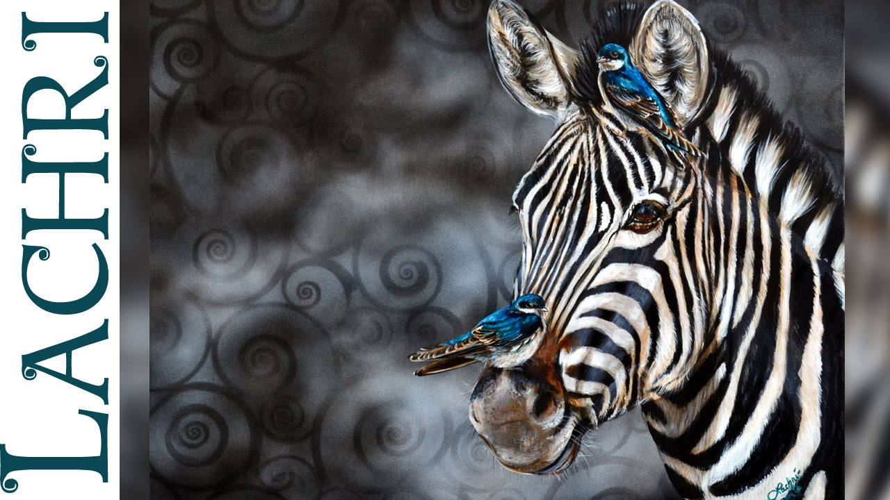 Speed Painting zebra in acrylic - Time Lapse Demo by Lachri