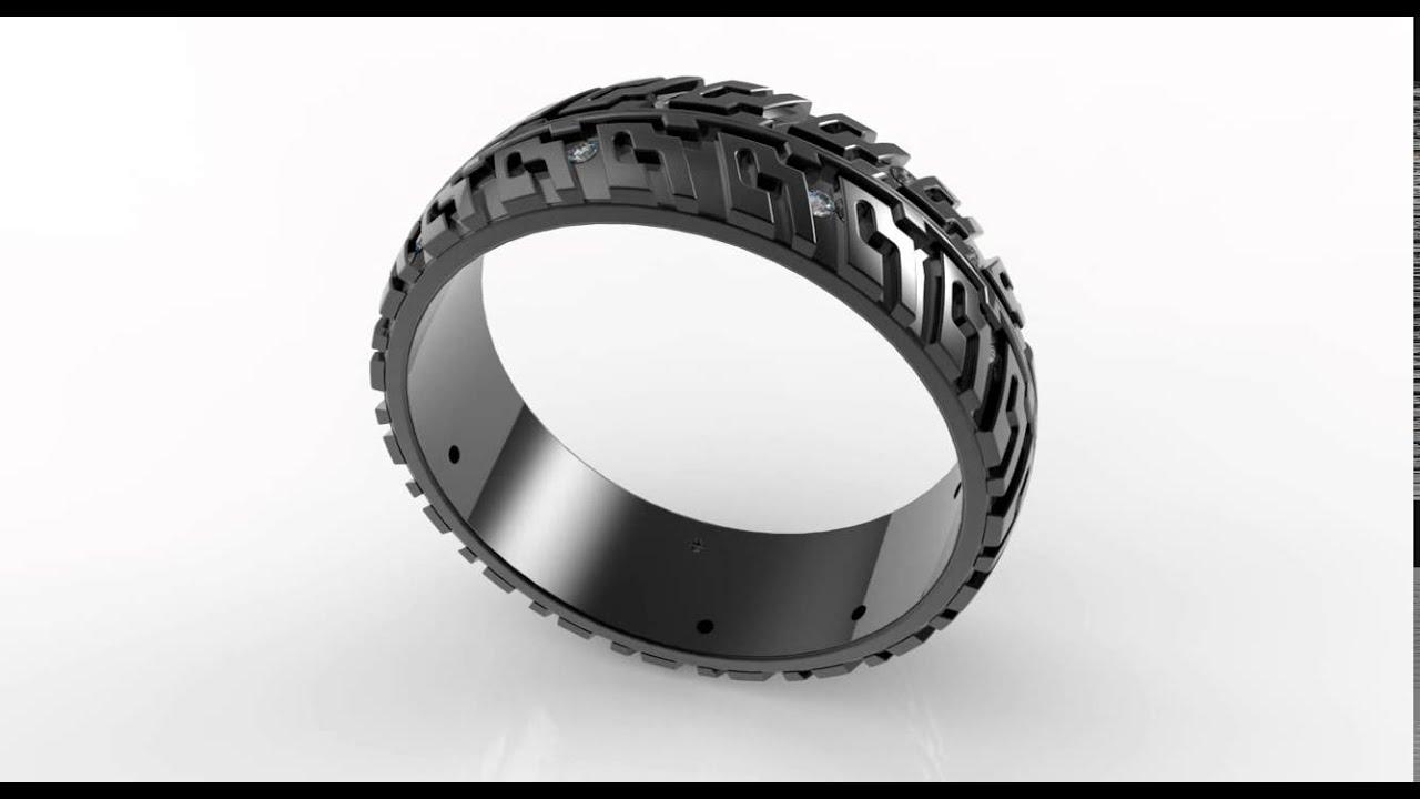 black gold tire tread diamond wedding band - youtube