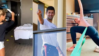 Australian Open tennis players forced to train in their hotel rooms during quarantine