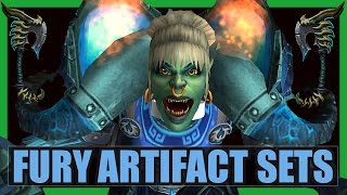 10 Cool Fury Warrior Artifact Sets WoW Legion | Odyn's Fury and Helya's Wrath Transmog