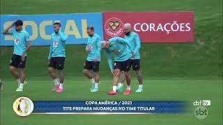 Seleção brasileira deve ter mudanças no time para enfrentar o Peru na Copa América