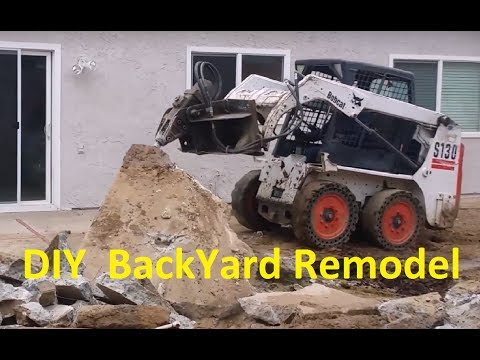Tractor / Bobcat Tearing out Concrete DIY Remodel ~ Home Construction Series