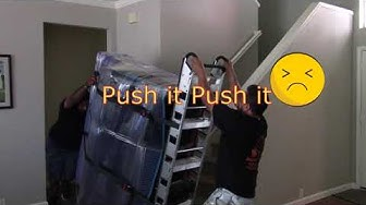 Moving a Heavy Upright Piano Upstairs with 2 Movers and tight landing